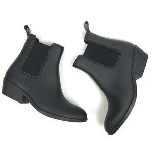 JEFFERY CAMPBELL BLACK CHELSEA RUBBER BOOTS SIZE 8